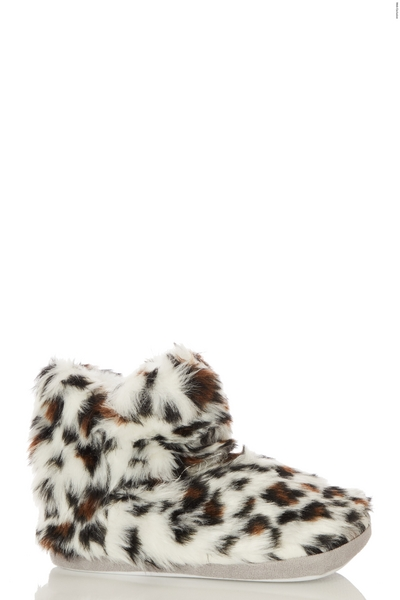 Brown Leopard Print Slipper Boot